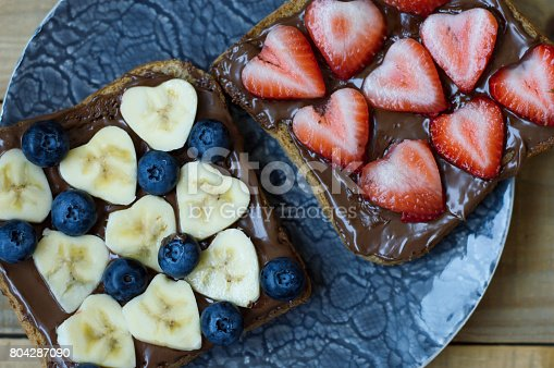 640978994 istock photo Two fruit sandwiches with banana, strawberry, blueberry, chocolate spread, bread 804287090