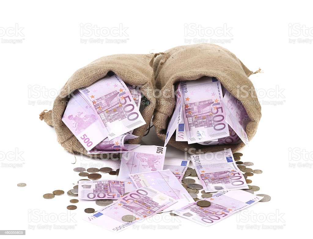 Two full sack with money. stock photo