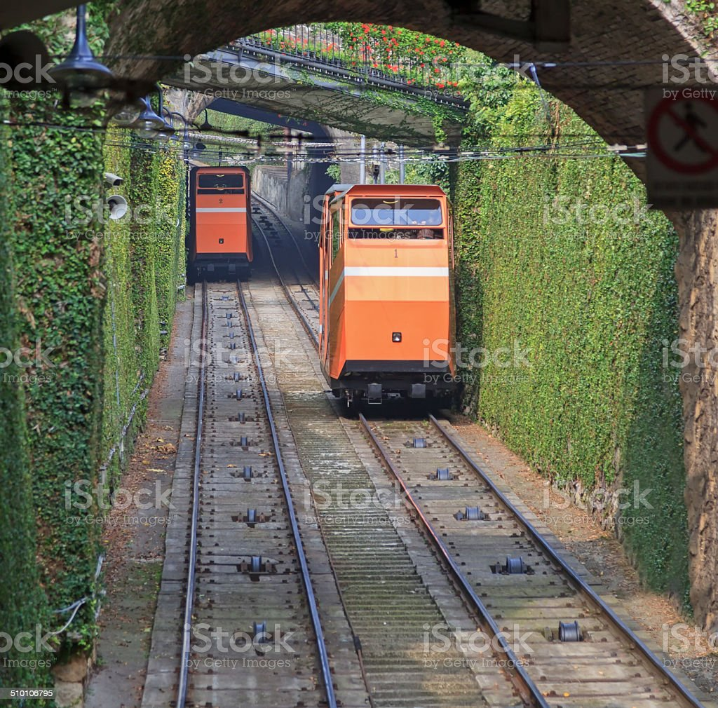 Two funiculars moving on the railroad stock photo