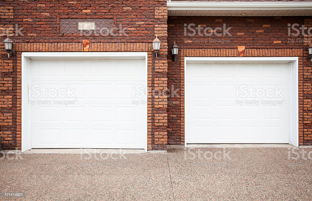 Two Garages stock photo