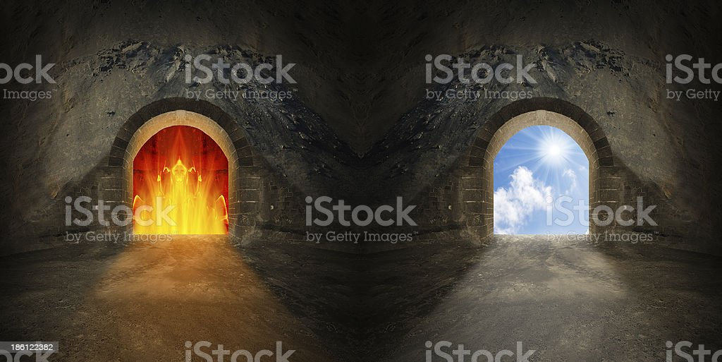 Two gates to heaven and hell. stock photo