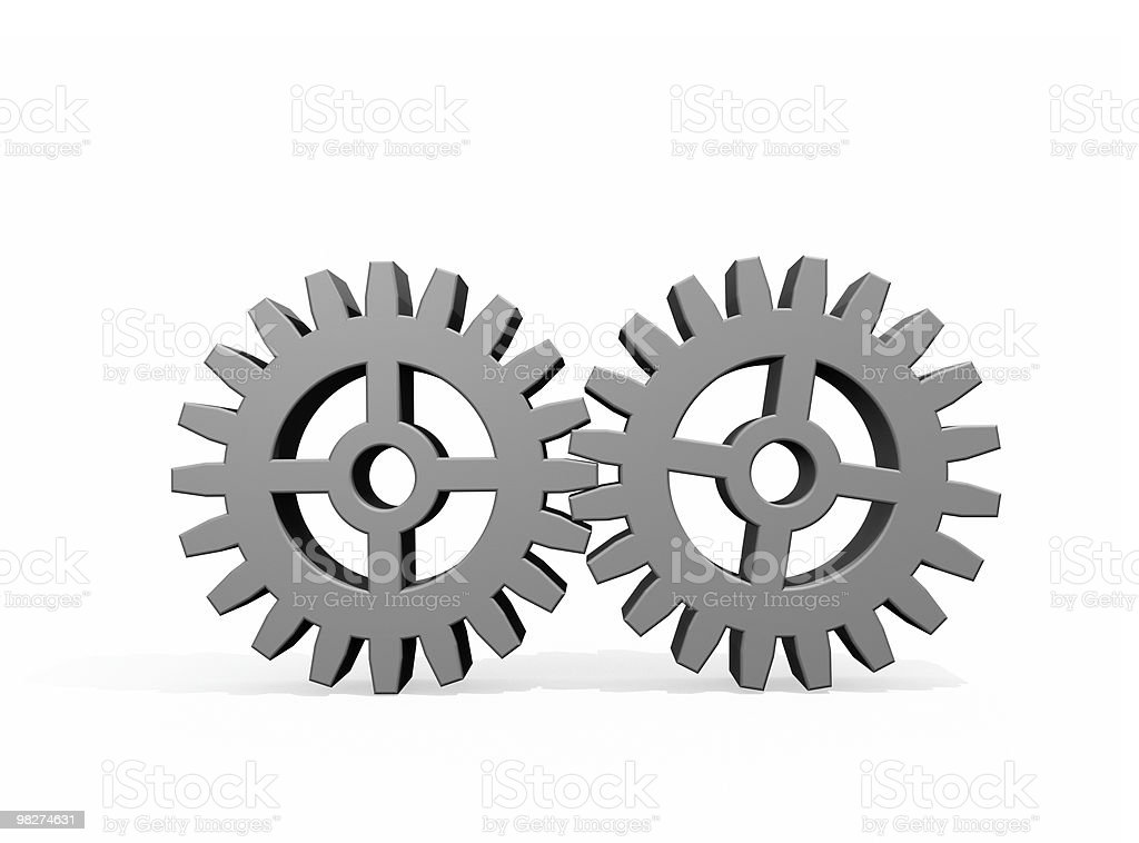 Two Gears Joined Together royalty-free stock photo