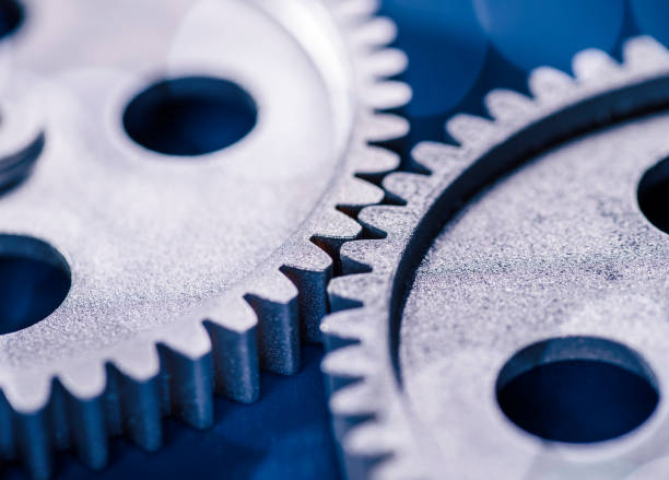 Two gears mesh stock photo