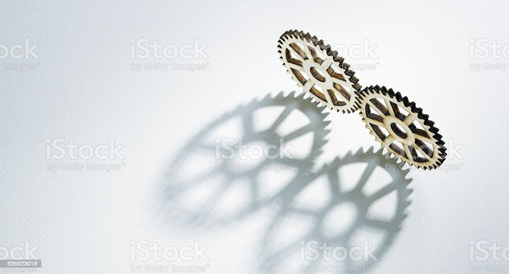 Two gears with shadow stock photo