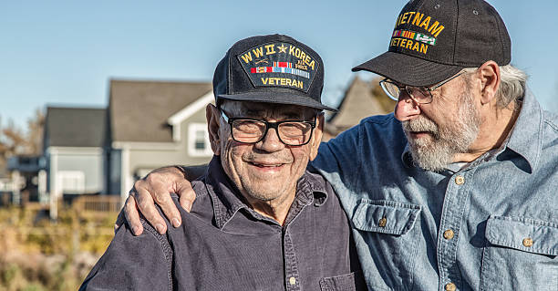 Two Generation Family USA Military War Veteran Senior Men – Foto
