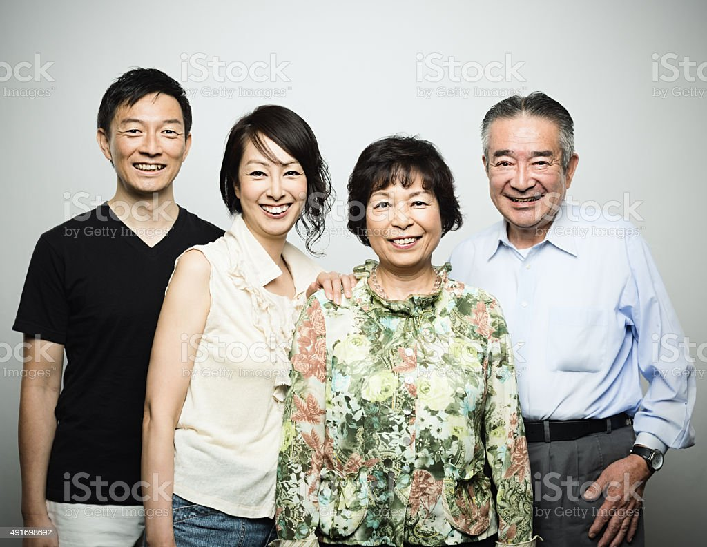 Two generation japanese family stock photo