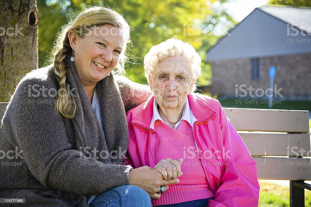 Two Generations of Beautiful Healthy Women Outside royalty-free stock photo