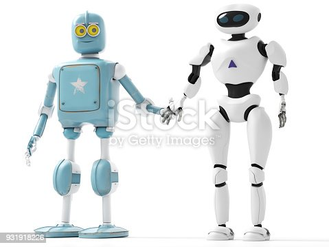 istock two generations of robots holding hands with an on-white background 3d render 931918226
