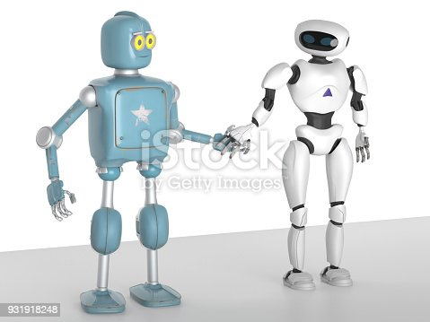 istock two generations of robots holding hands with an on-white background 3d render 931918248