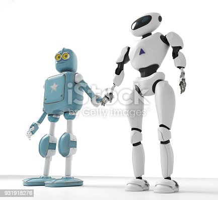 istock two generations of robots holding hands with an on-white background 3d render 931918276