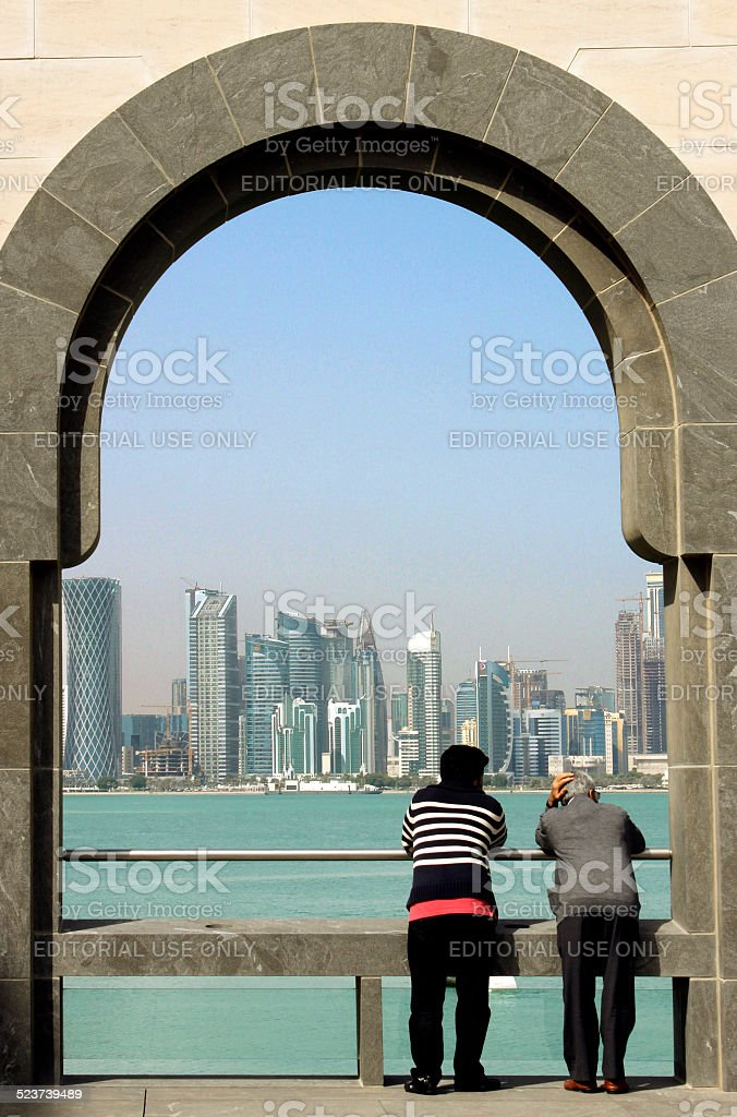 Two generations talking at the Museum of Islamic art, Doha stock photo
