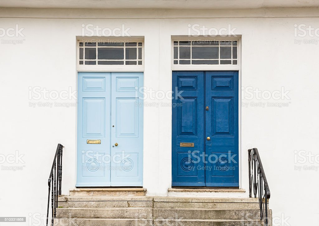 Two Georgian Style front, entrance, doors stock photo