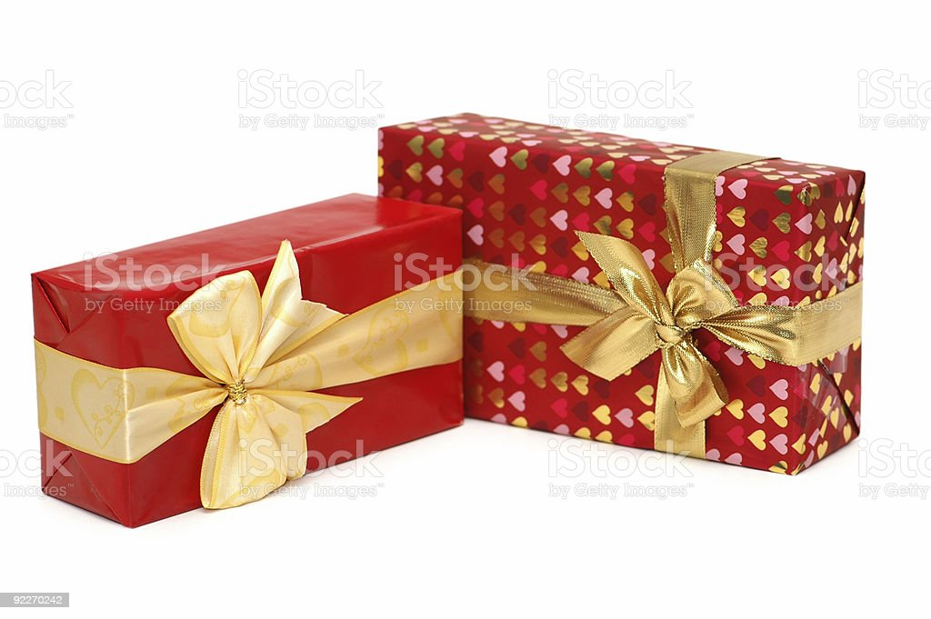 Two gift boxes isolated on the white royalty-free stock photo
