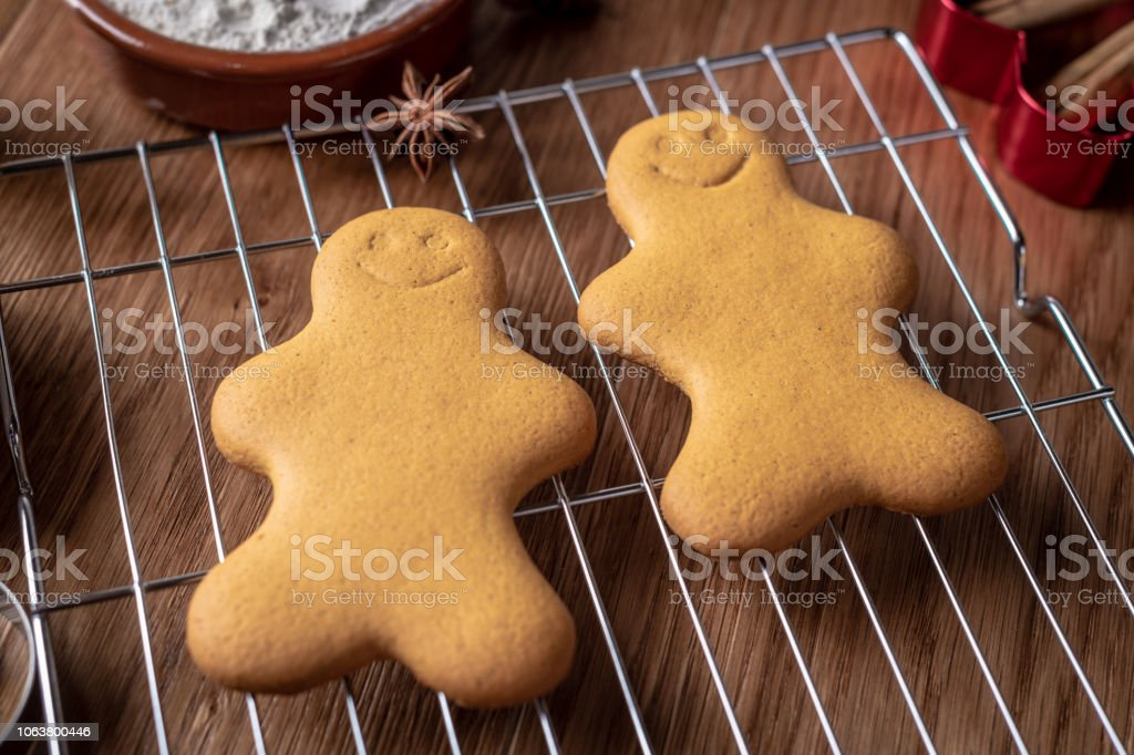 Two Gingerbread characters on a wire rack stock photo