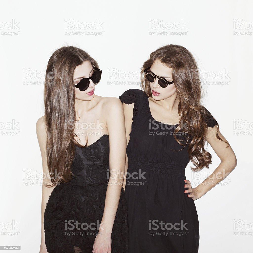 Two girl friends having fun stock photo