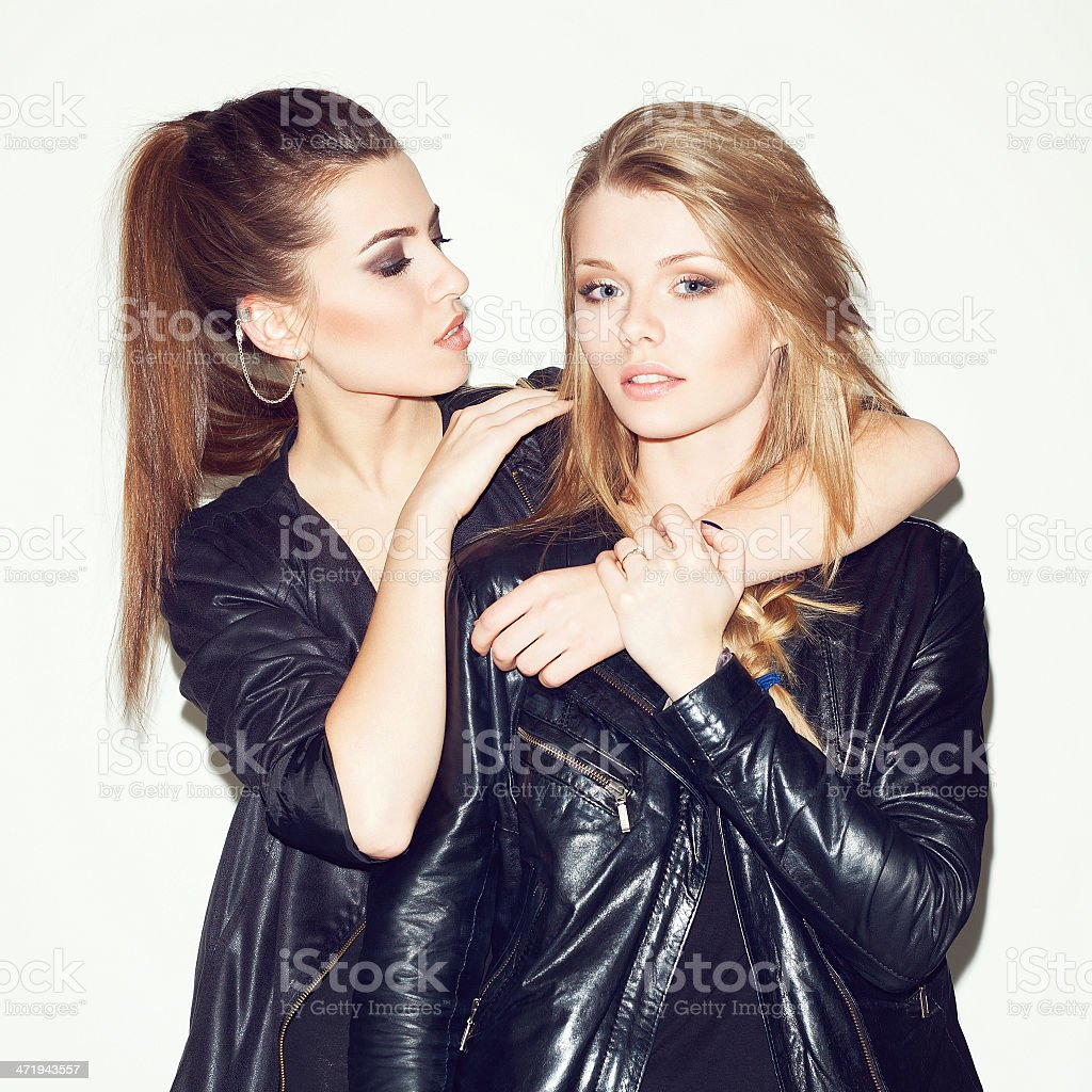 Two girl friends stock photo