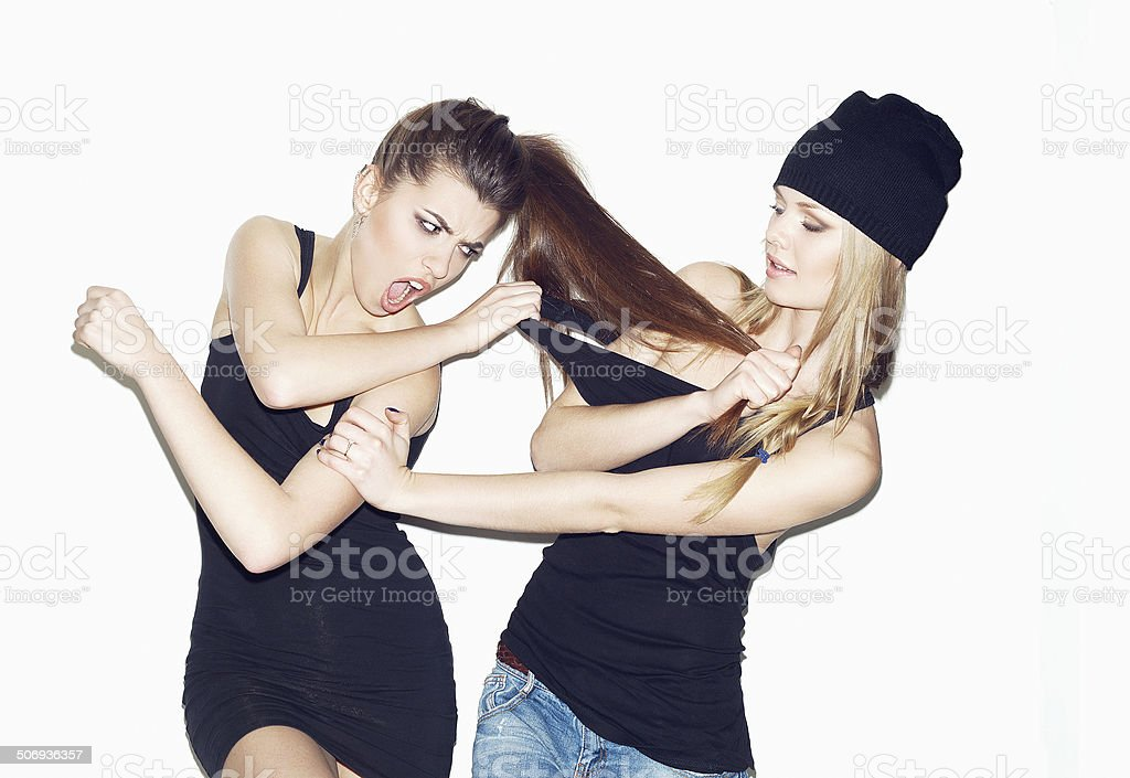 Two girl friends together stock photo