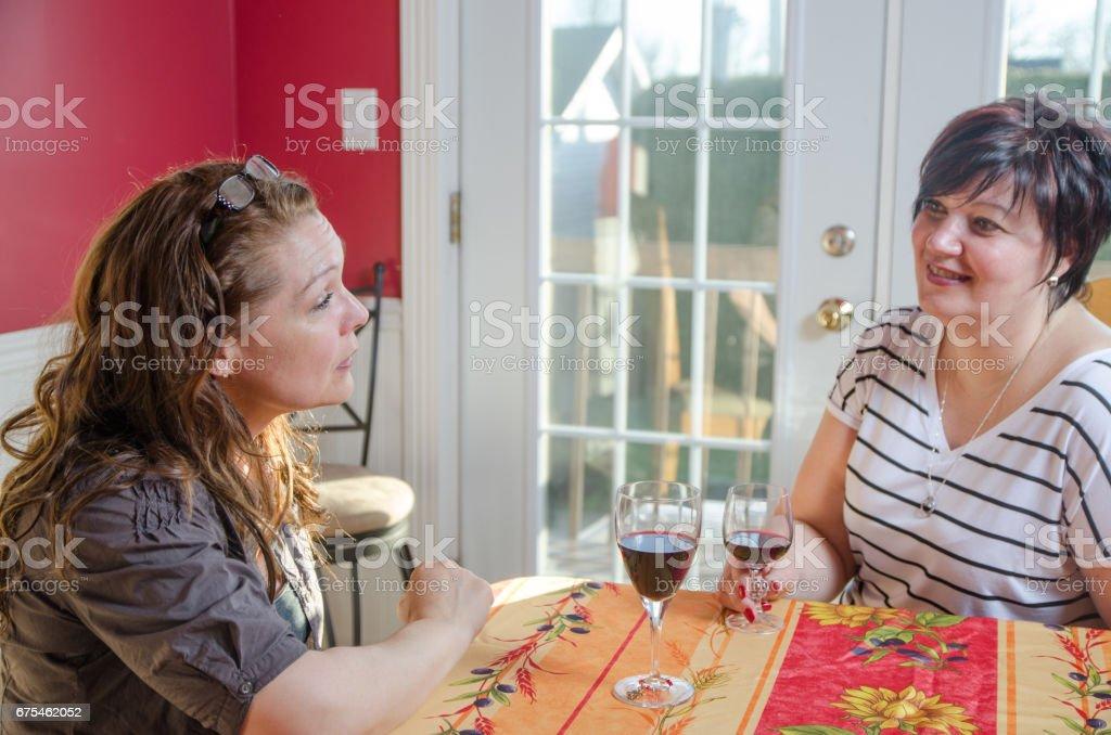 Deux copines parler et prendre un verre de vin rouge photo libre de droits