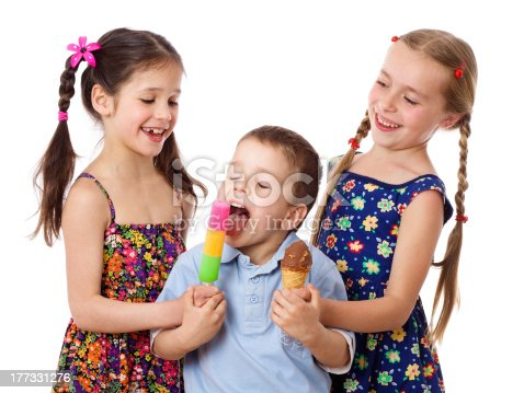 958492394 istock photo Two girls and boy with ice cream 177331276