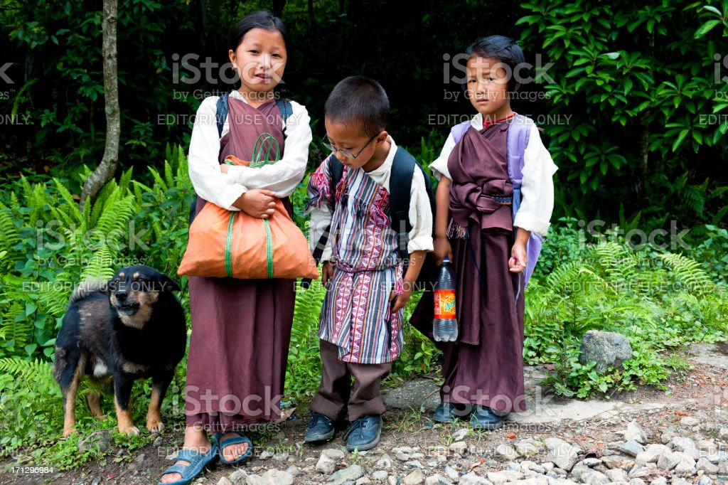 Two Girls Boy and Dog in Sikkim India royalty-free stock photo