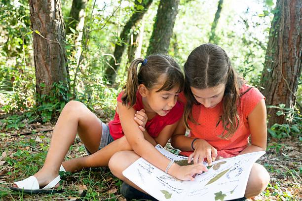 duas raparigas instalações de recolha - folha de caderno imagens e fotografias de stock