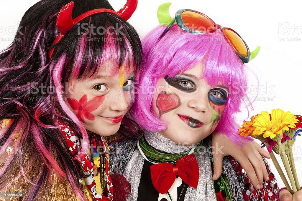 Two girls dressed up and ready to party royalty-free stock photo
