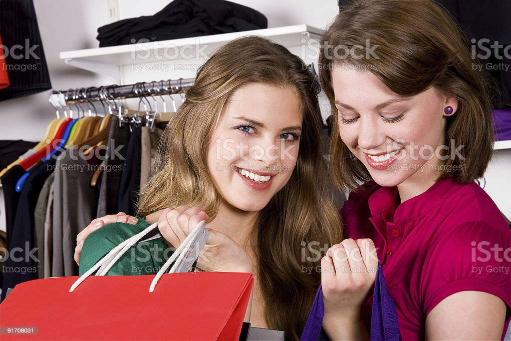 Two Girls Going Shopping royalty-free stock photo