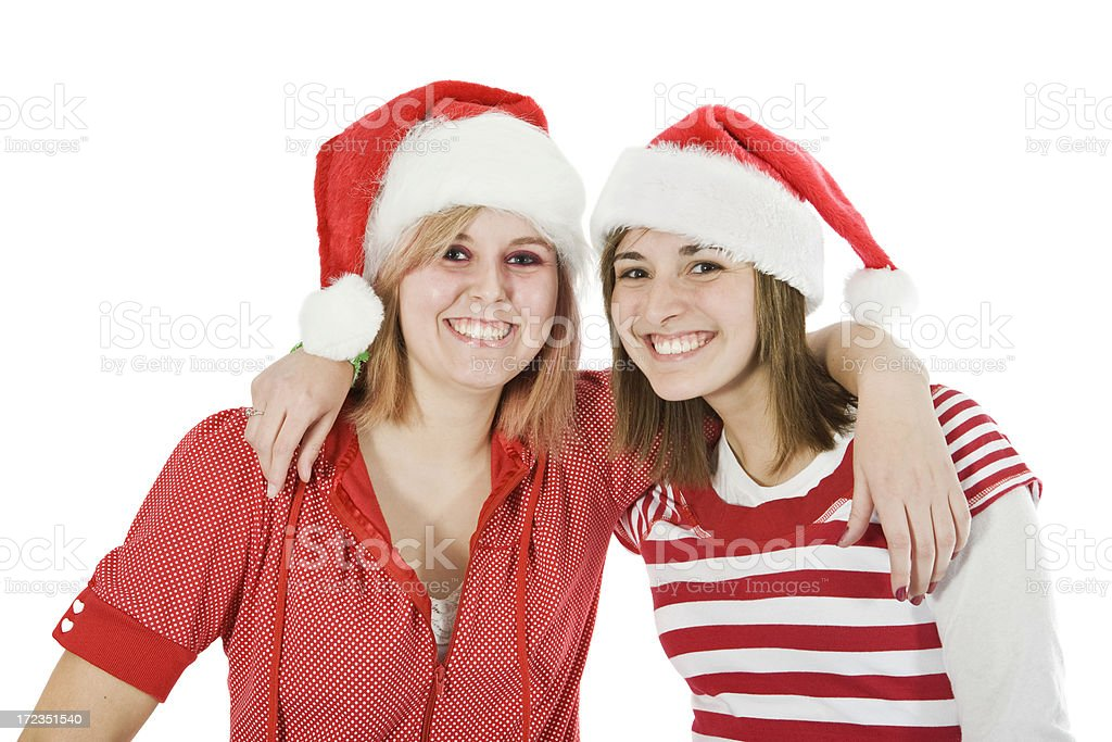 Two girls have Fun on Christmas royalty-free stock photo