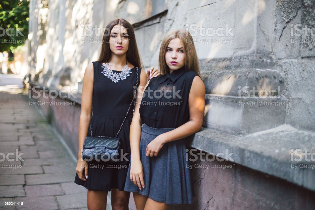 two girls HD royalty-free stock photo