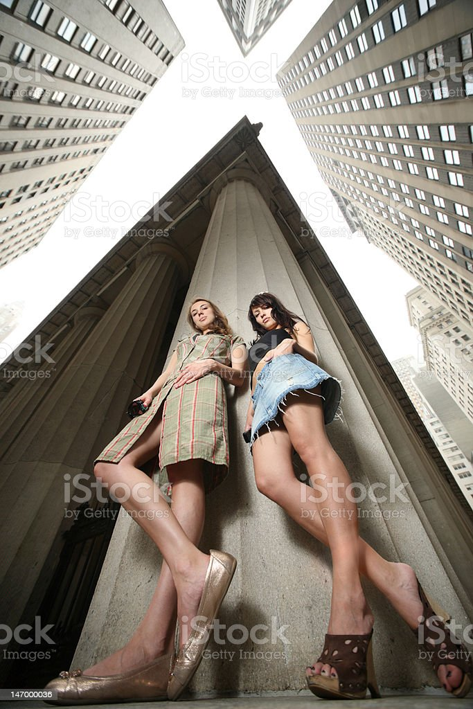 Two girls in New York City stock photo