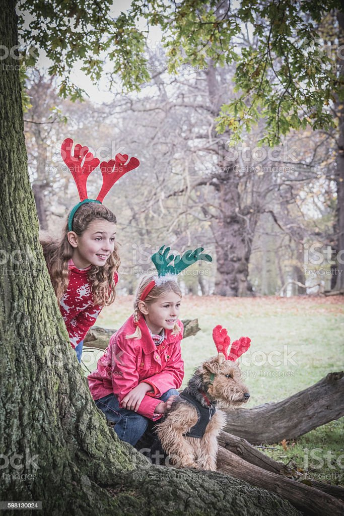 Two girls in park with reindeer antlers on heads stock photo