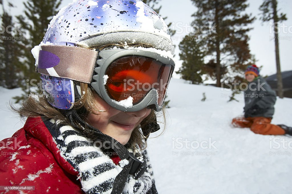 Two girls (10-11) in snow royalty-free stock photo