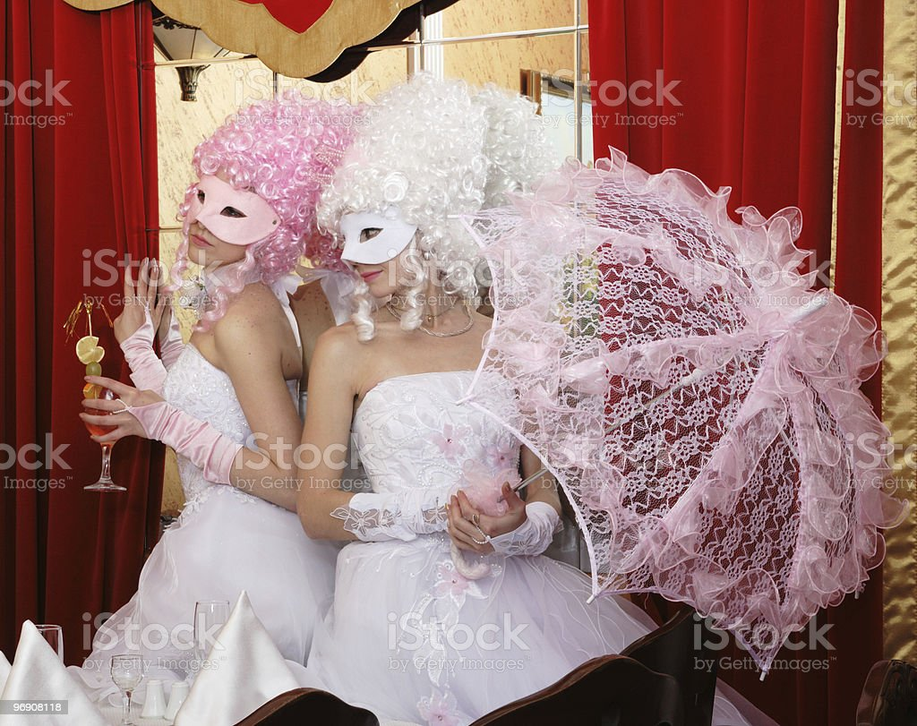 Two girls in wedding royalty-free stock photo