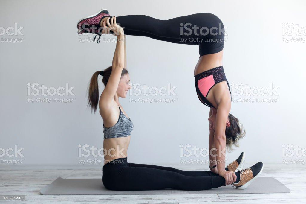 Two Girls Making Fitness stock photo