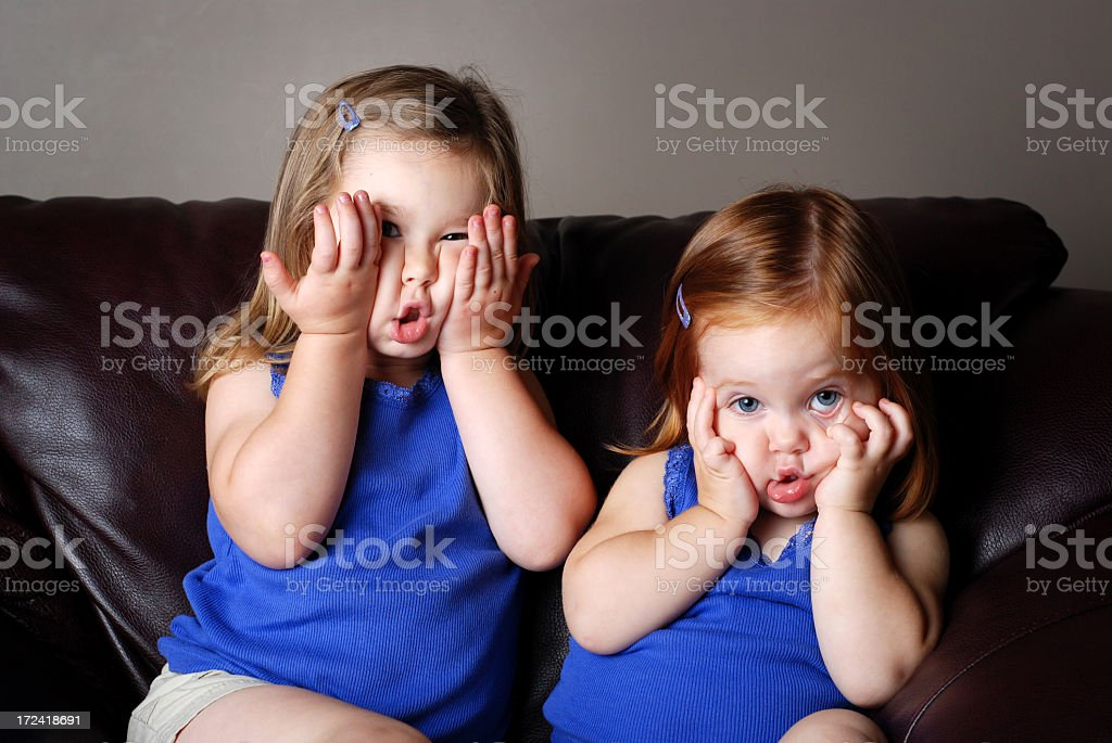 Two Girls Making Funny Faces royalty-free stock photo