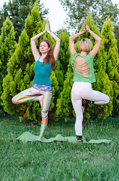 two girls or women practicing yoga in nature stock photo