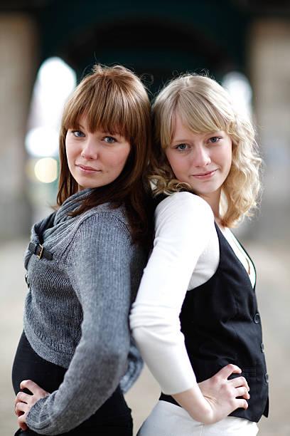 Two girls stock photo