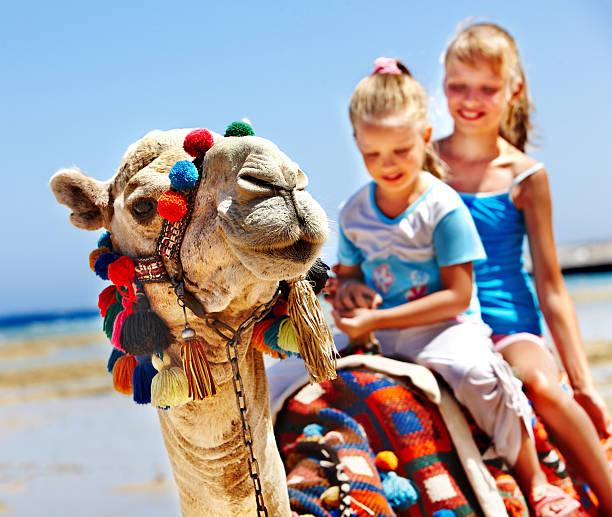 Touristen reiten Kamel am Strand von Ägypten. – Foto