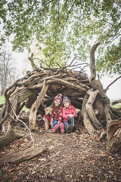 Two girls sitting under log den with dog in autumn picture id598130086?b=1&k=6&m=598130086&s=612x612&w=0&h=tv8jzvuuwyxcvrwkz9fyrfpsvz7ul2xk837dhlic5n8=