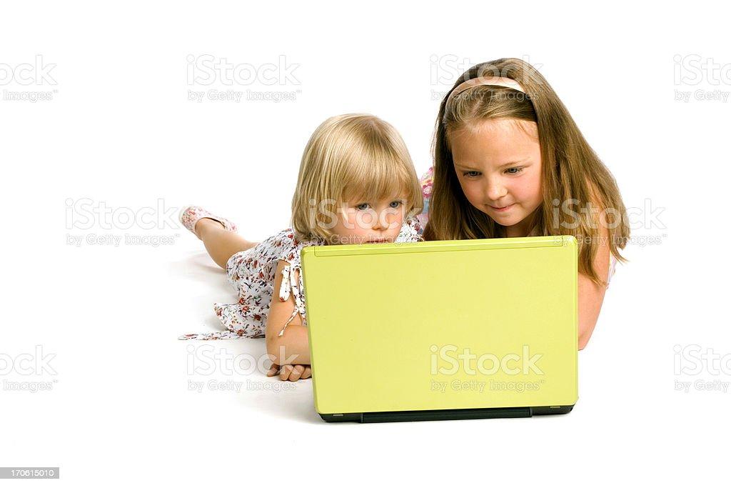 Two Girls Using Laptop royalty-free stock photo