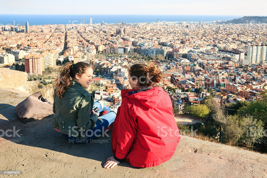 Two girls viewing Barcelona stock photo