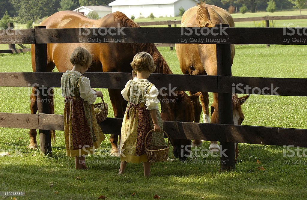 Two Girls with Horses stock photo