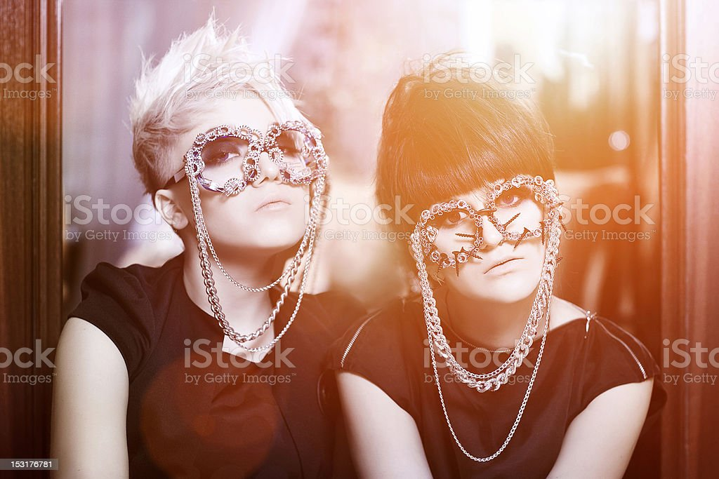 two girls with shades stock photo