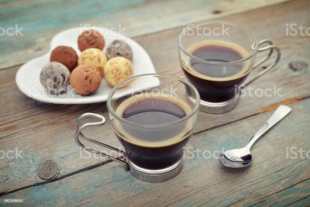 Two glass cups of coffee royaltyfri bildbanksbilder