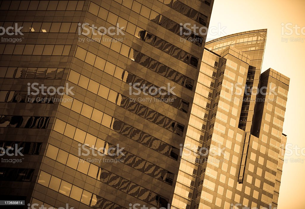 Two Glass Skyscrapers royalty-free stock photo