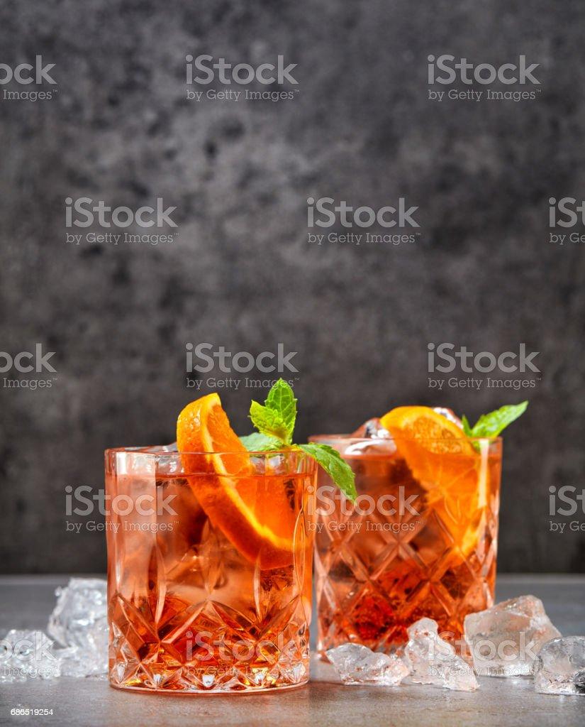 two glasses of aperol soda cocktail royaltyfri bildbanksbilder