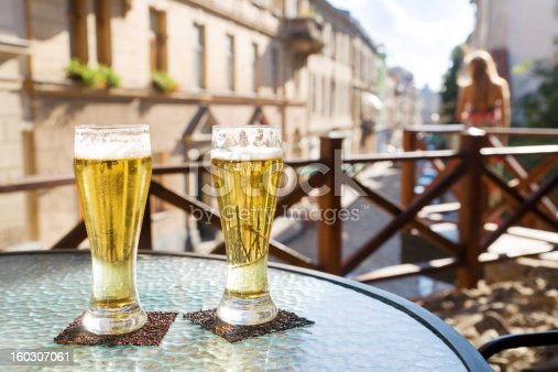 istock Two glasses of beer in terrace cafe 160307061