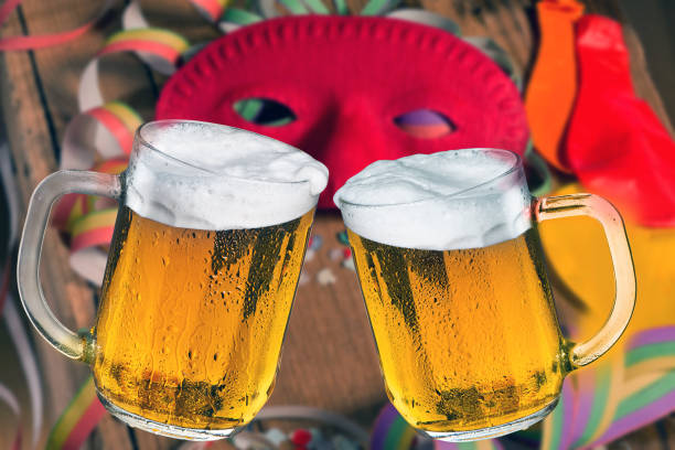 Two glasses of beer. Toast with beer. stock photo