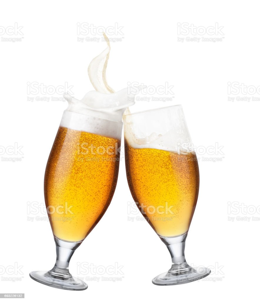 two glasses of beer with splash stock photo