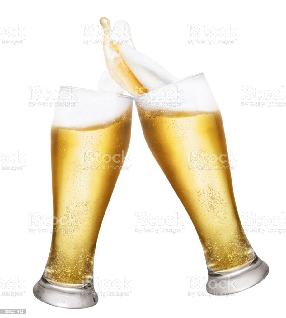 two glasses of beer with splashes stock photo